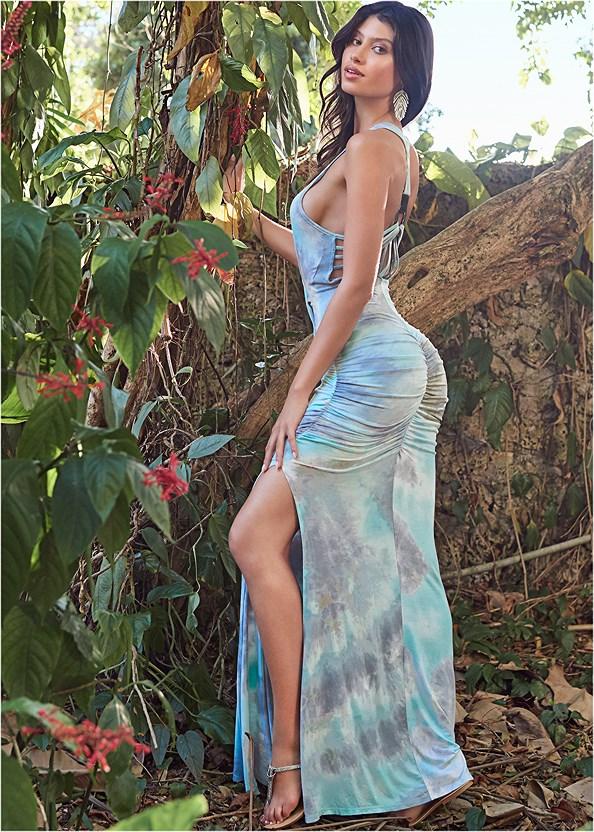 Strappy Back Tie Dye Maxi Dress,Thong Strap Kitten Heel