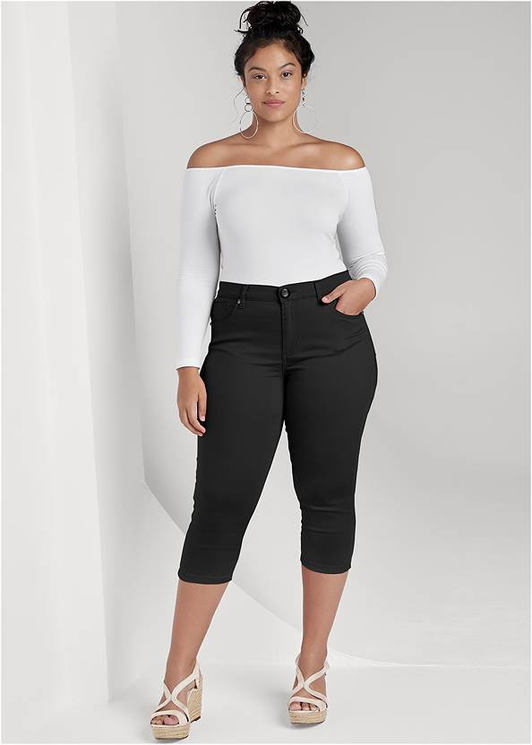 Color Capri Jeans,Off-The-Shoulder Top,Mid Rise Color Skinny Jeans,Frayed Cut Off Jean Shorts,High Heel Strappy Sandals