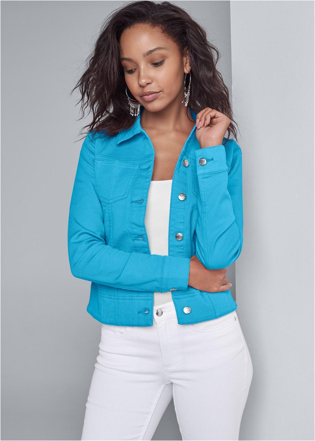 Jean Jacket,Basic Cami Two Pack,Mid Rise Color Skinny Jeans,Tassel Hoop Earring