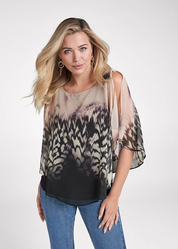 Printed Overlay Top,Bum Lifter Jeans,Mid Rise Slimming Stretch Jeggings,Sexy Slingback Heels,Ring Detail Oversized Bag