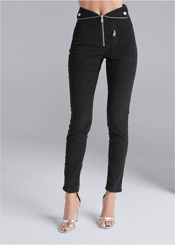 Waist down front view Fold Over Corduroy Pants