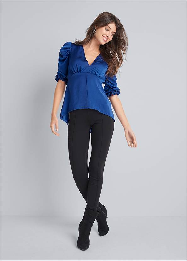 Full front view Satin Puff Sleeve Blouse