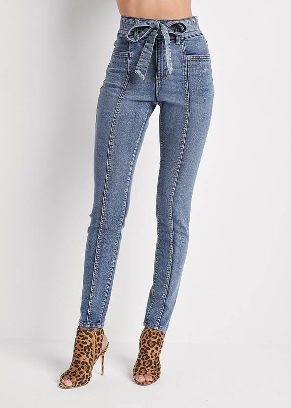 Waist down front view Belted Pintuck Skinny Jeans