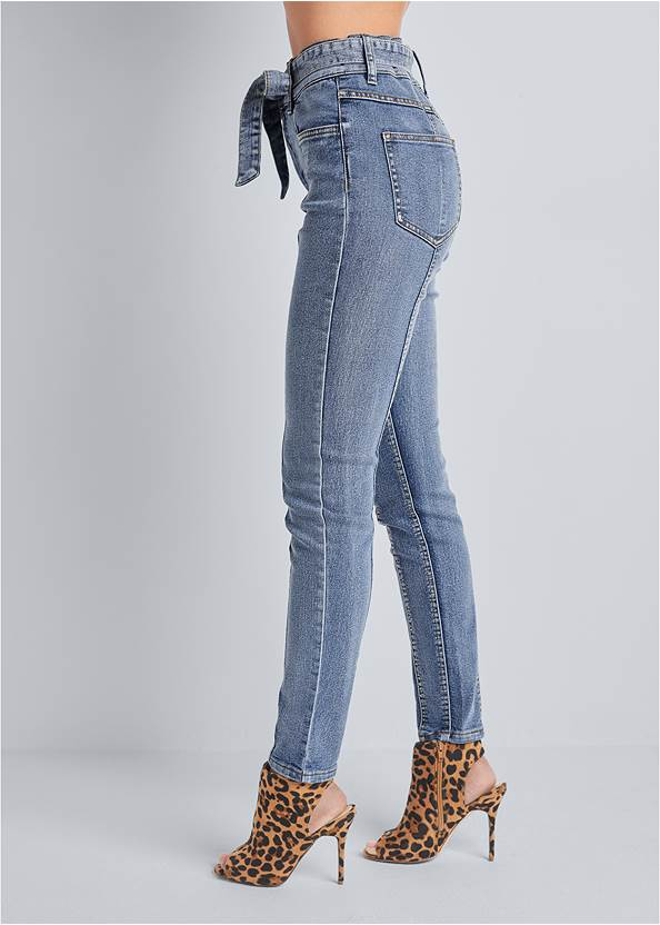 Waist down side view Belted Pintuck Skinny Jeans