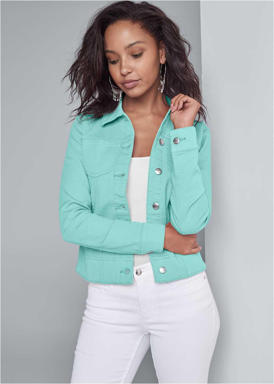 Jean Jacket,Basic Cami Two Pack,Mid Rise Color Skinny Jeans,Tassel Hoop Earrings