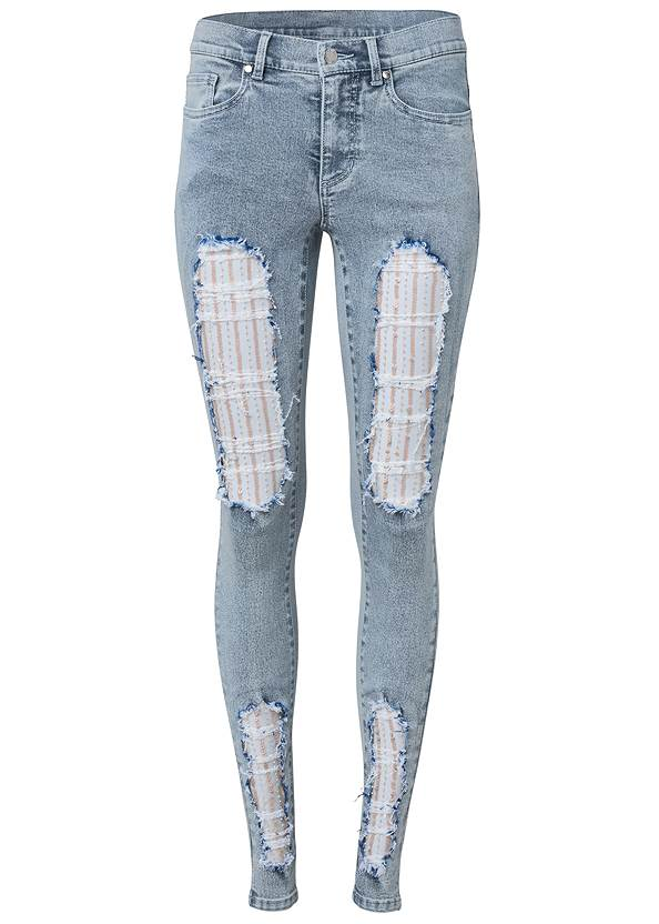 Ghost with background  view Sequin Mesh Detail Jeans