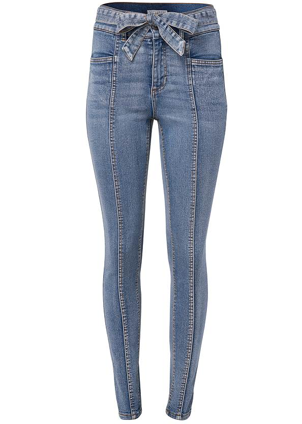 Ghost with background  view Belted Pintuck Skinny Jeans
