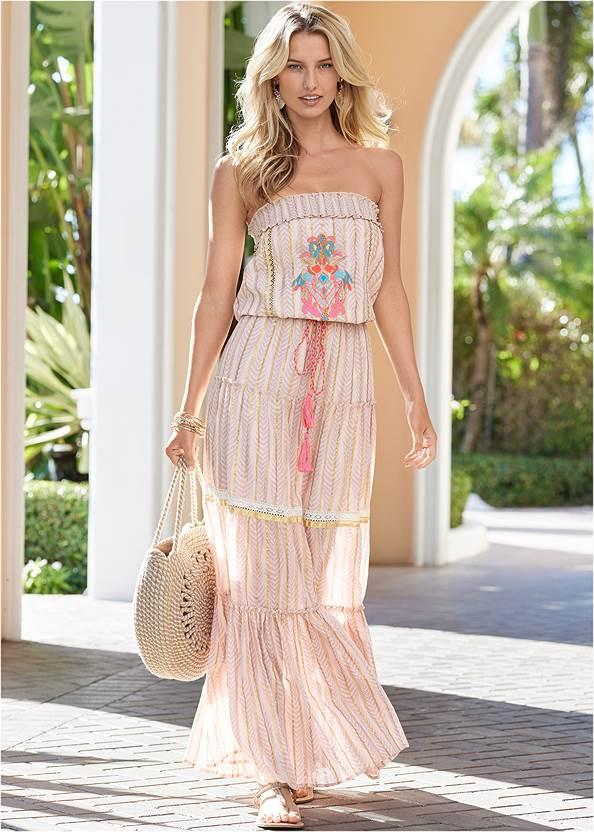 Embroidered Maxi Dress,Pearl By Venus® Strapless Bra,Rhinestone Thong Sandals,Raffia Bling Hoop Earrings