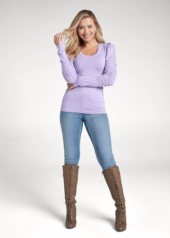 Full front view Ruched Sleeve Top