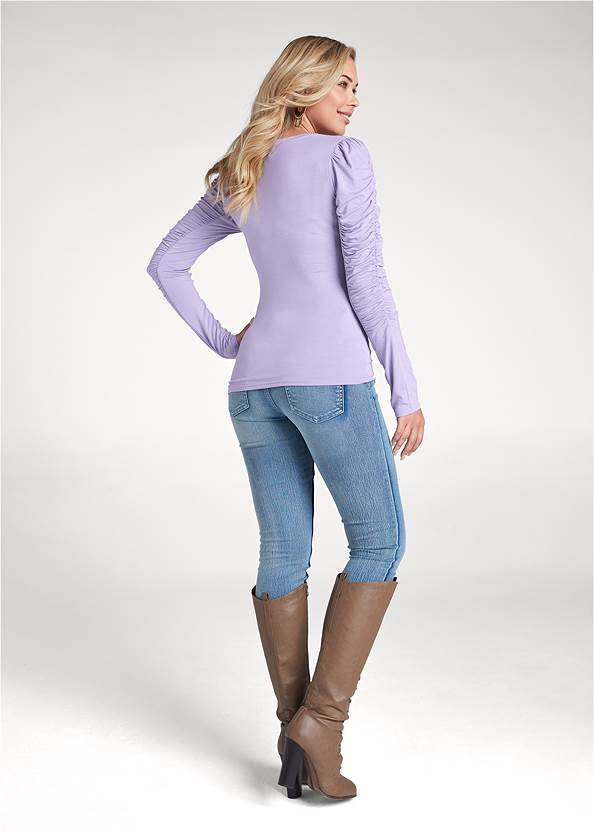 Full back view Ruched Sleeve Top
