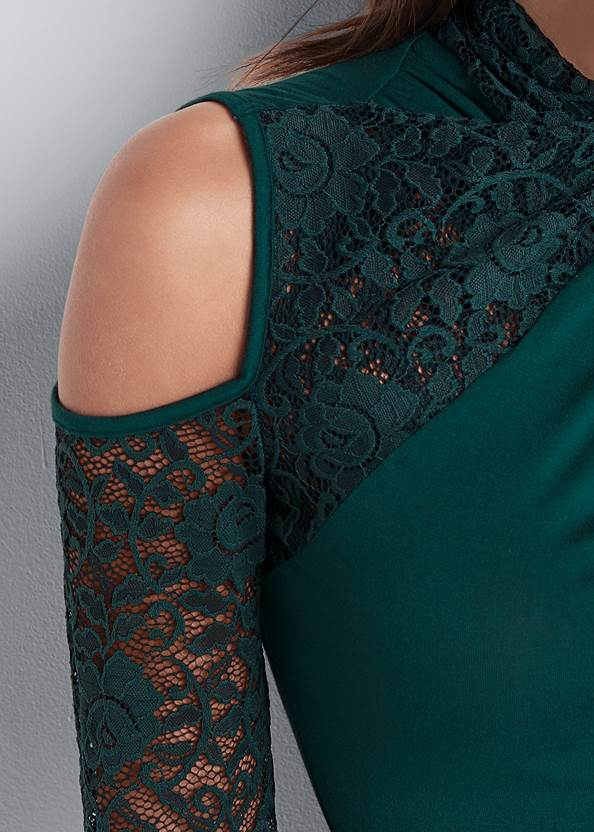 Detail front view Lace Sleeve Surplice Top