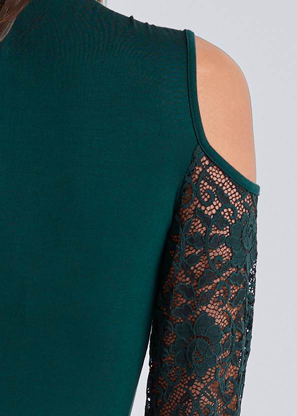 Detail back view Lace Sleeve Surplice Top
