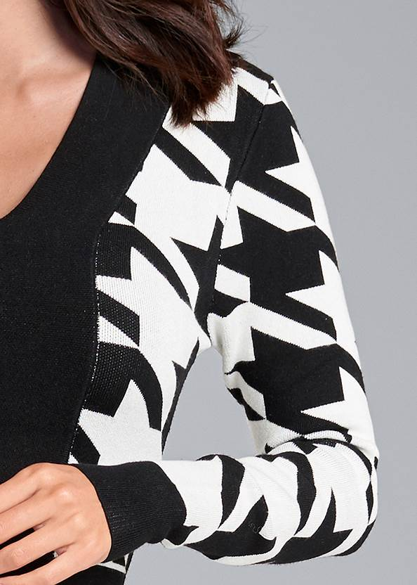 Detail front view Houndstooth Sweater Dress