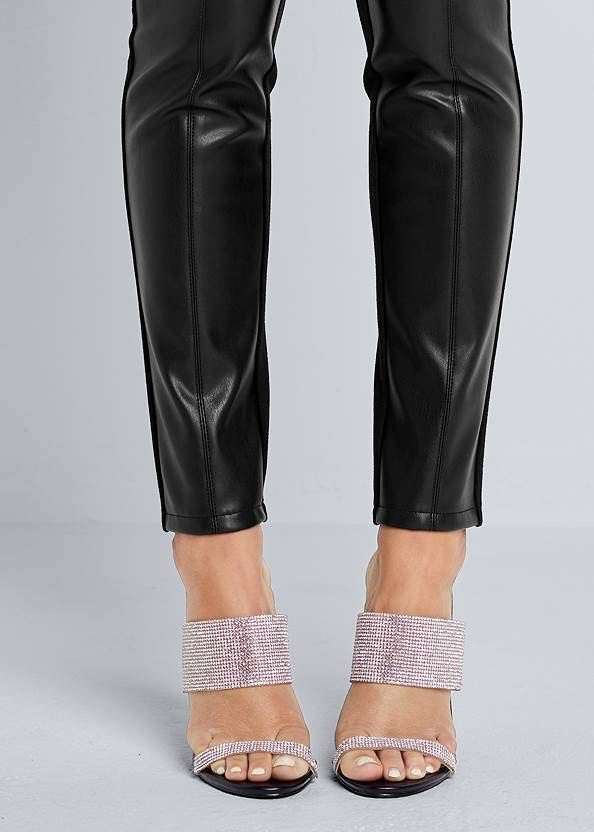 Detail front view Ponte Faux Leather Leggings