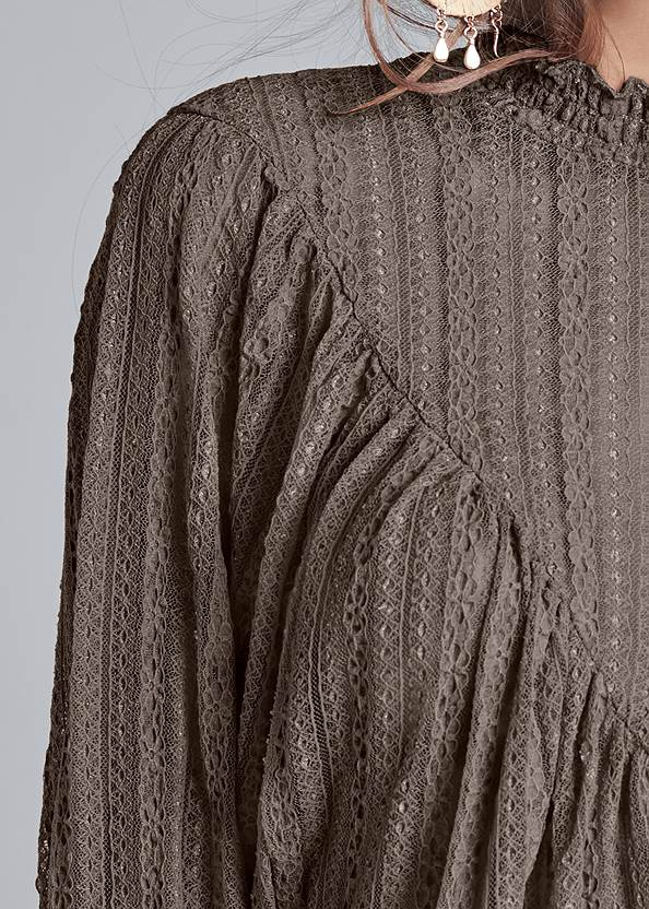 Detail front view Smocked Mock Neck Top