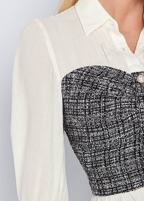 Detail front view Tweed Twofer Blouse