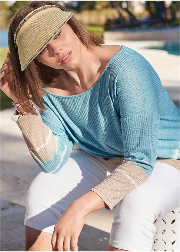 Waffle Knit Tie Dye Top,Color Capri Jeans,Linen Shorts,Double Strap Printed Sandal,Shell Detail Bracelet Set,Studded Jelly Thong Sandals