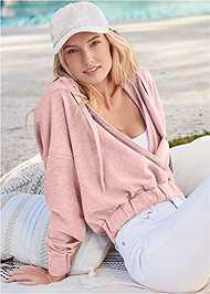 Front View Surplice Pullover Sweatshirt