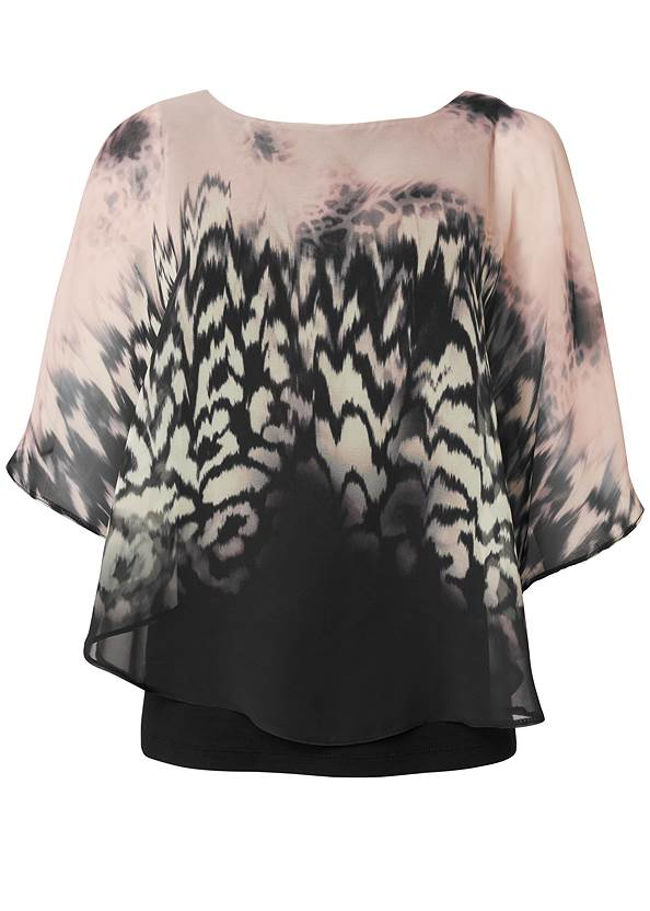 Ghost with background  view Printed Overlay Top