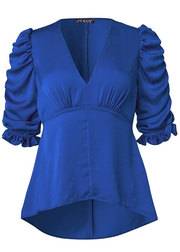 Ghost with background  view Satin Puff Sleeve Blouse