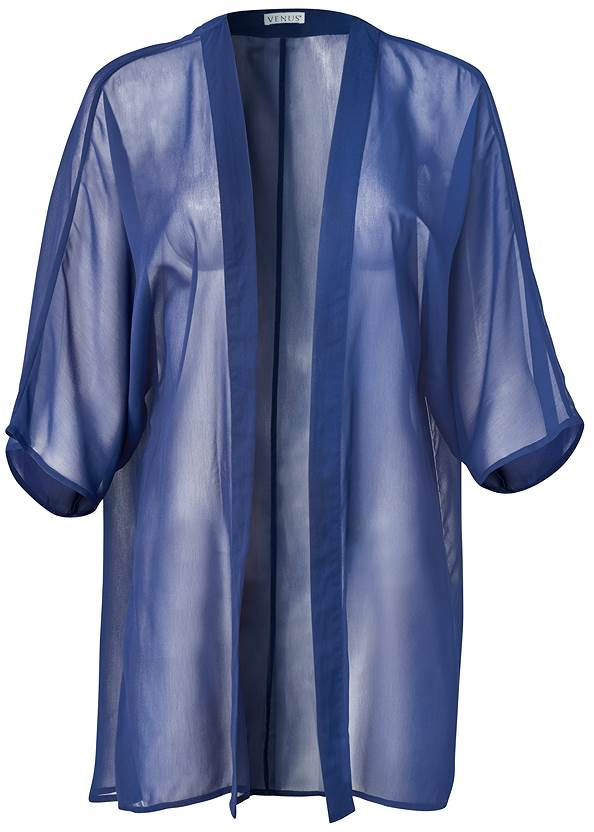 Ghost with background  view Sheer Kimono Cover-Up