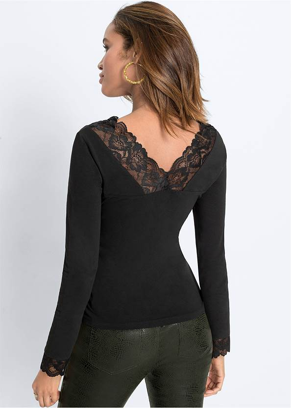 Cropped front view Lace Trim Top