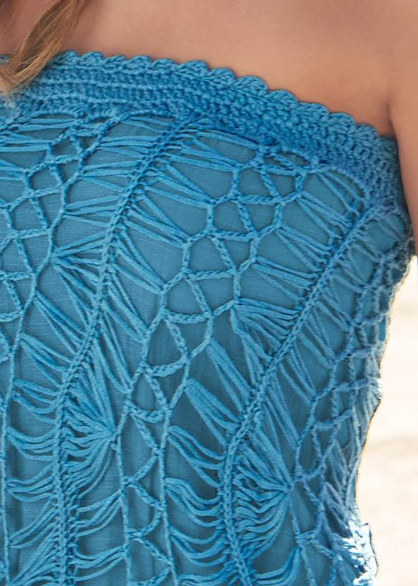 Detail front view Convertible Fringe Coverup