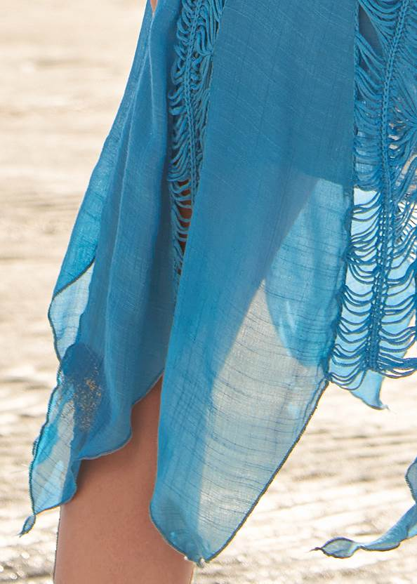 Detail back view Convertible Fringe Coverup