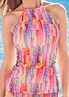 Detail front view Ruched Side Halter Tankini Top