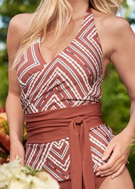Detail front view Sustainable Wrap Tankini Top