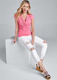 Alternate View Cowl Neck Sleeveless Top