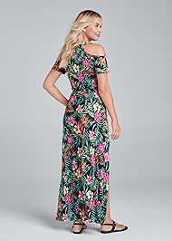 Back View Cold Shoulder Maxi Dress