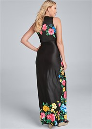 Full back view Twist Front Floral Maxi Dress
