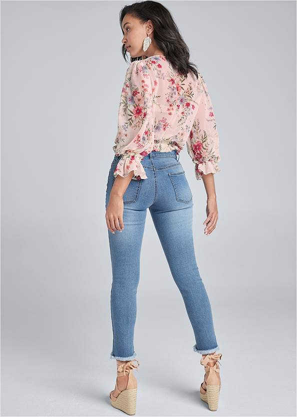 Back View Floral Print Top