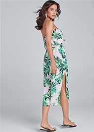 Back View Palm Print Jumpsuit