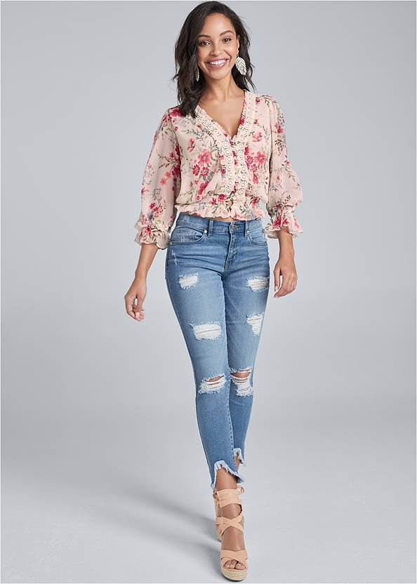 Full Front View Floral Print Top