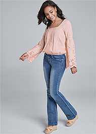 Alternate View Square Neck Lace Detail Top