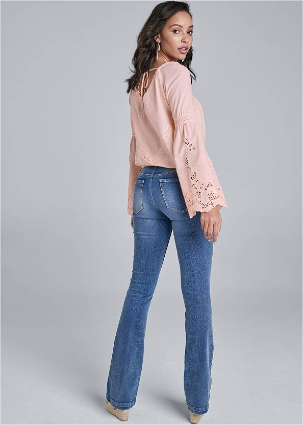 Back View Square Neck Lace Detail Top