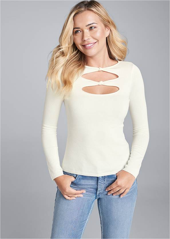 Open Front Sweater,Mid Rise Color Skinny Jeans