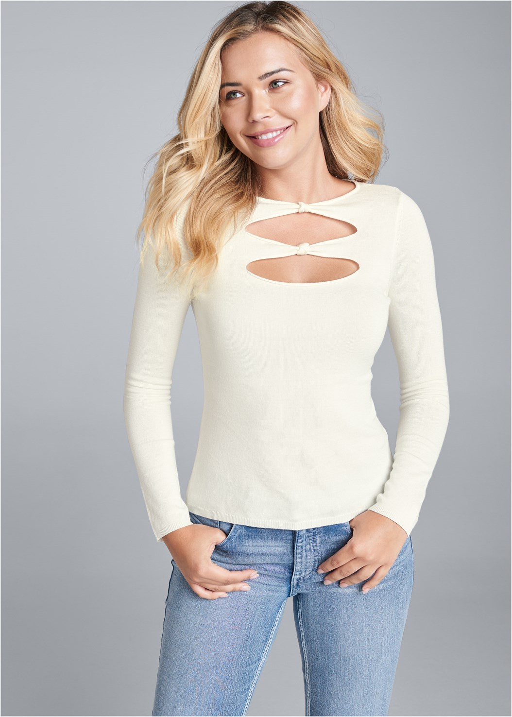 Open Front Sweater,Mid Rise Color Skinny Jeans,Lucite Ankle Wrap Wedge