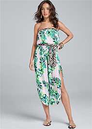 Full Front View Palm Print Jumpsuit