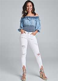 Full Front View Off Shoulder Chambray Top