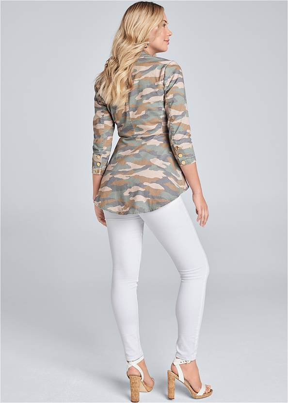 Back View Camo Print High Low Jacket