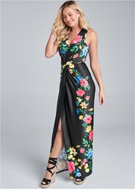 Front View Twist Front Floral Maxi Dress