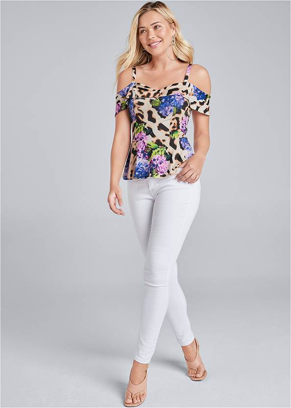 Full Front View Printed Cold Shoulder Top