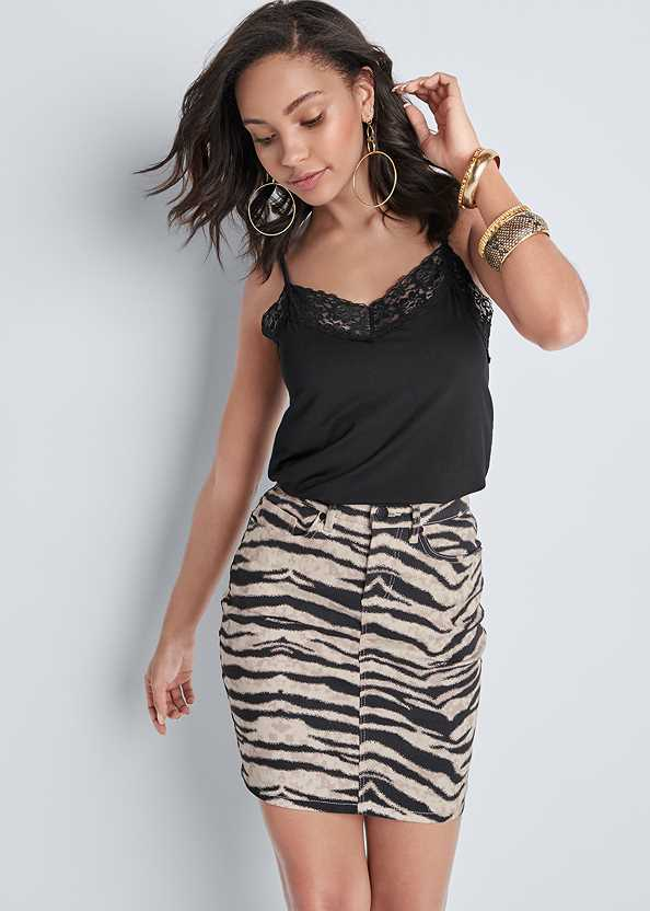 Color Mini Jean Skirt,Lace Cami,Hoop Earrings,Animal Print Bangle Set