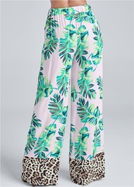 Back View Palm Print Tie Front Pant