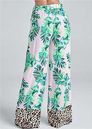 Back View Palm Print Tie Front Pant