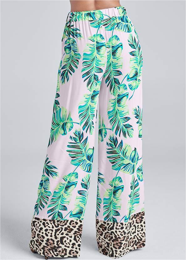 Back View Palm Print Tie Front Pants