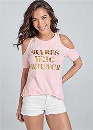 Cropped Front View Babes Who Brunch Tee
